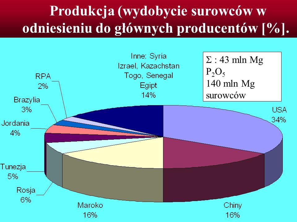 Produkcja (wydobycie surowców w odniesieniu do głównych producentów [%].
